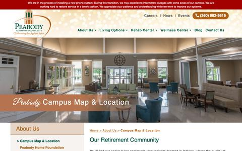 Screenshot of Maps & Directions Page peabodyrc.org - Peabody Retirement Community Campus & Map Location - captured Sept. 27, 2018