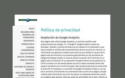 Screenshot of Privacy Page dionisiomelo.com - Política de privacidad - Dionisio Melo Internacional - captured Oct. 12, 2017