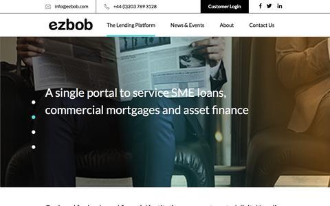 Screenshot of Home Page ezbob.com - Platform Lending Solutions   Ezbob Platform Lending - captured Aug. 28, 2018