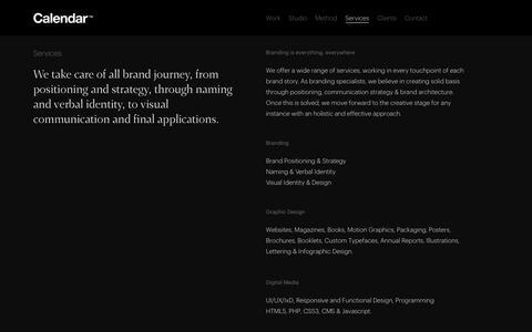 Screenshot of Services Page estudiocalendar.com - Services — Calendar - captured July 11, 2017