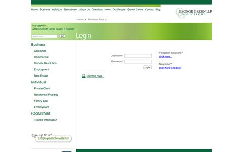 Screenshot of Login Page georgegreen.co.uk - Login - George Green Solicitors - captured Oct. 2, 2014