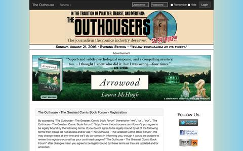 Screenshot of Signup Page theouthousers.com - Register - The Outhouse - The Greatest Comic Book Forum • User Control Panel - captured Aug. 22, 2016