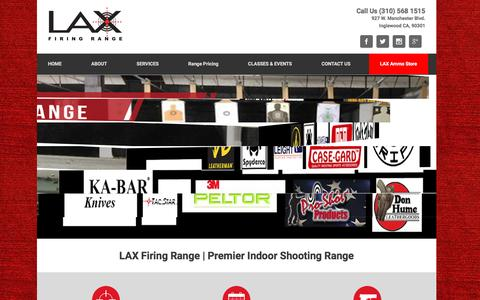 Screenshot of Home Page laxrange.com - Welcome to LAX Firing Range | Premier Indoor Shooting Range - captured Nov. 25, 2016