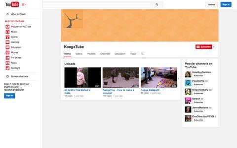 Screenshot of YouTube Page youtube.com - KoogaTube  - YouTube - captured Oct. 24, 2014