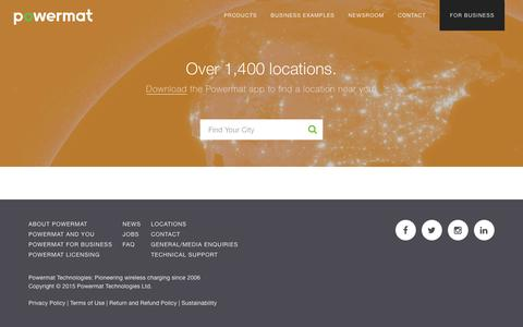 Screenshot of Locations Page powermat.com - Over 1,000 locations in over 400 cities | Powermat • Life at 100% - captured May 4, 2017