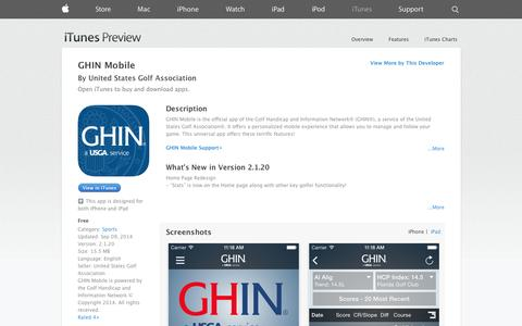 Screenshot of iOS App Page apple.com - GHIN Mobile on the App Store on iTunes - captured Oct. 22, 2014