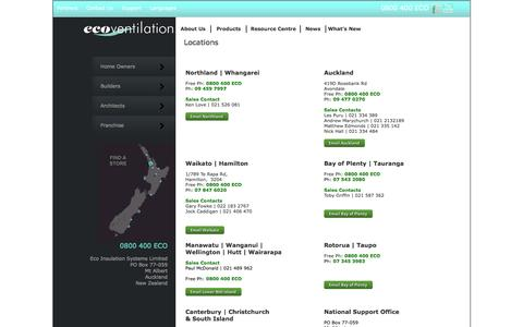 Screenshot of Locations Page ecoventilation.co.nz - Eco Ventilation, SmartVent, NZ's Home Ventiliation Specialists-Locations - captured May 3, 2016