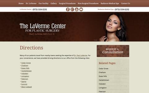 Screenshot of Maps & Directions Page lovermecenter.com - Directions - captured Nov. 10, 2016