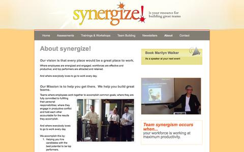 Screenshot of About Page energizeyourworkforce.com - About Synergize! - captured Oct. 6, 2014