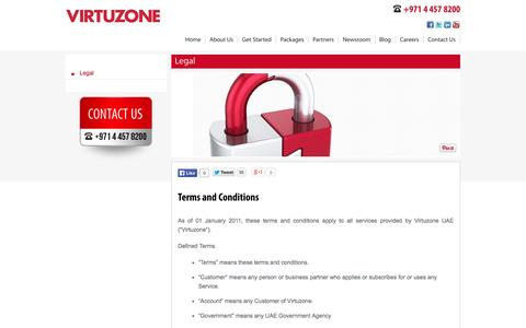 Screenshot of Terms Page vz.ae - Legal | Terms & Conditions - Virtuzone - captured Oct. 26, 2014