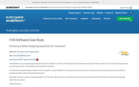 Screenshot of Case Studies Page avangate.com - HHD Software Case Study - captured April 13, 2018