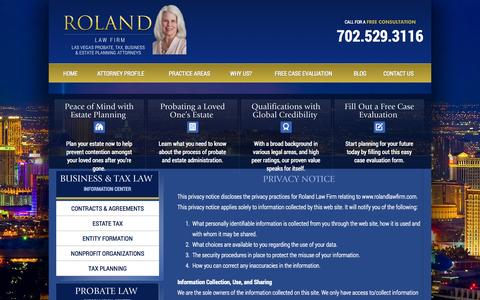 Screenshot of Privacy Page rolandlawfirm.com - Las Vegas Probate Lawyer | Privacy Policy - captured Sept. 30, 2014