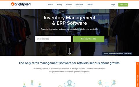 Screenshot of Home Page brightpearl.com - Inventory Management & ERP Software | Brightpearl - captured Feb. 20, 2016