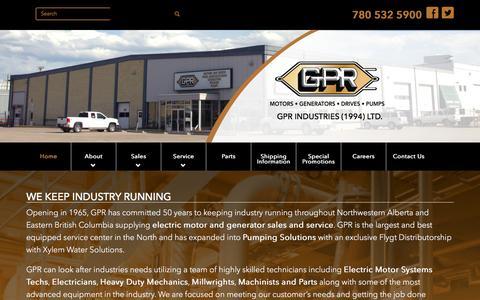 Screenshot of Home Page gprindustries.com - Electric Motors, Power Generation, Flygt Pump, CSA Approved - captured Jan. 24, 2016