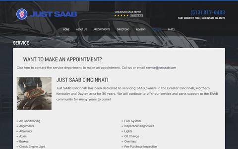 Screenshot of Services Page justsaab.com - Cincinnati Saab Service | Just Saab - captured Aug. 8, 2016