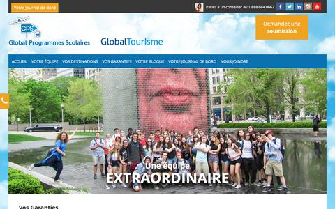 Screenshot of Home Page global-gps.ca - Voyages étudiants - Global Programmes Scolaires - captured March 3, 2016