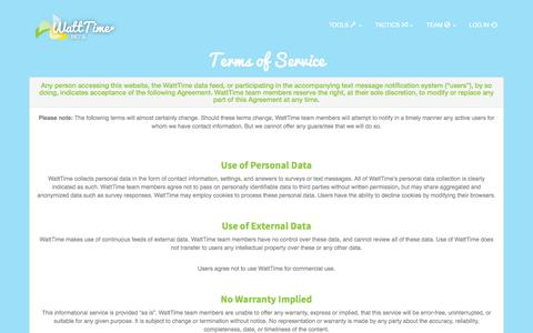 Screenshot of Terms Page watttime.org - WattTime: Terms of Service - captured Oct. 27, 2014