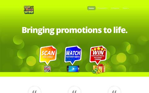Screenshot of Home Page scanwatchwin.com - Scan Watch Win! - Bringing promotions to life. - captured Sept. 30, 2014
