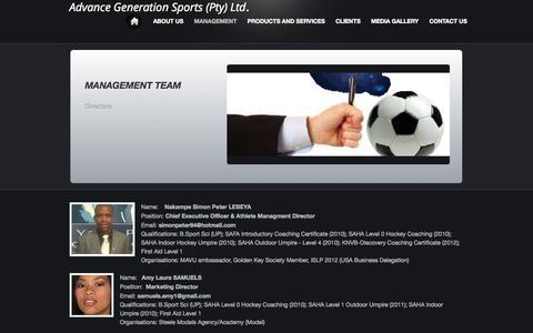 Screenshot of Team Page webs.com - Advance Generation Sports Pty Ltd. - Management - captured Sept. 13, 2014