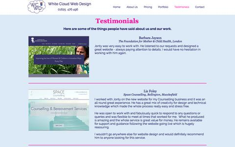 Screenshot of Testimonials Page whitecloudwebdesign.co.uk - Testimonials   Web Design   Macclesfield  White Cloud Web Design - captured July 13, 2018
