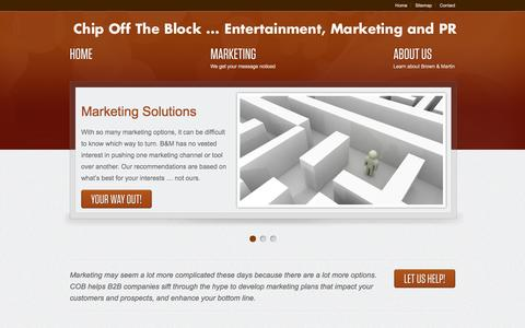 Screenshot of Home Page bmpr.com - Chip Off the Block  - an entertainment and marketing firm - captured Oct. 2, 2014