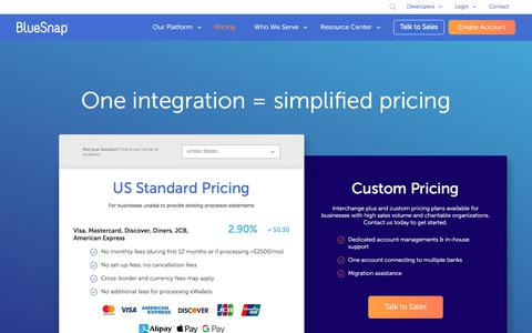 Screenshot of Pricing Page bluesnap.com - Pricing   BlueSnap - captured Oct. 30, 2019