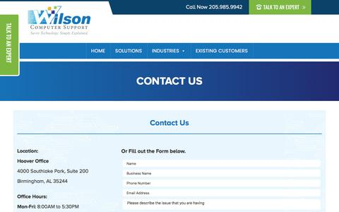 Screenshot of Contact Page wilsoncomputer.com - Contact Us - captured Nov. 8, 2019