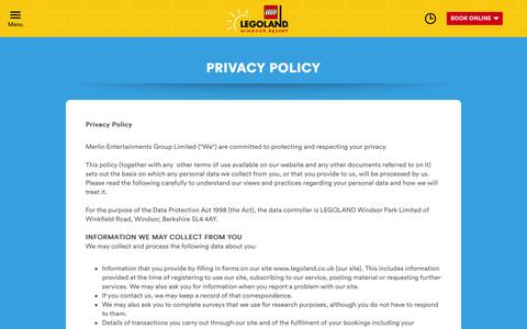 Screenshot of Privacy Page legoland.co.uk - Privacy Policy - captured July 3, 2016