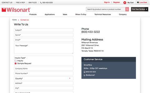 Screenshot of Contact Page wilsonart.com - Contact Us | Wilsonart - captured Feb. 17, 2020