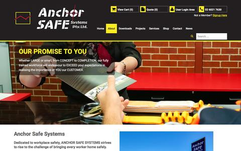 Screenshot of About Page anchorsafe.com.au - About - captured Feb. 6, 2016
