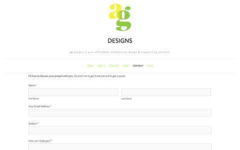 Screenshot of Contact Page amygaitan.com - Contact — ag designs - captured Oct. 27, 2014
