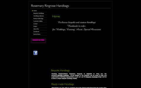 Screenshot of Home Page roseringrosehandbags.co.uk - Home - Bespoke Handbags by Rosemary Ringrose - captured Oct. 6, 2014