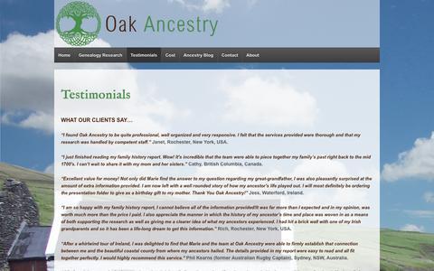 Screenshot of Testimonials Page oakancestry.ie - Testimonials - Irish Genealogy - captured Dec. 6, 2016