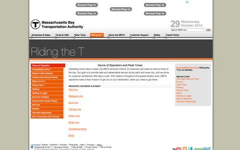 Screenshot of Hours Page mbta.com - MBTA > Riding the T - captured Oct. 29, 2014