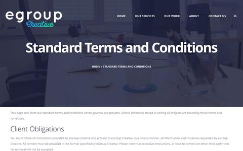 Screenshot of Terms Page egroup.com.au - Standard Terms and Conditions | - captured Nov. 15, 2016