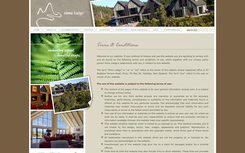 Screenshot of Terms Page rimulodge.co.nz - Rimu Lodge, Luxury Boutique Lodge, B&B Hokitika, Luxury Lodge, Boutique Lodge, Accommodation Hokitika, West Coast, New Zealand - captured June 15, 2016
