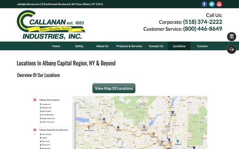 Screenshot of Locations Page callanan.com - locations - Callanan Industries, Inc. - Albany,, NY - captured Aug. 4, 2017