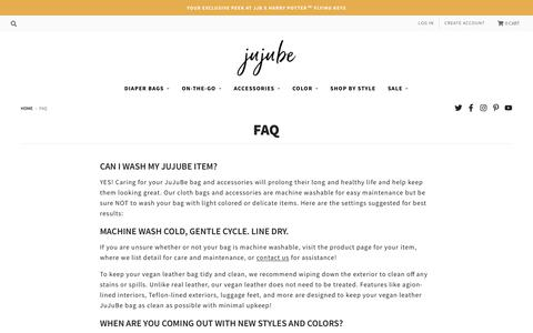 Screenshot of FAQ Page jujube.com - Questions About JuJuBe's Bags? Explore Our FAQ Section Today! - captured Aug. 16, 2019