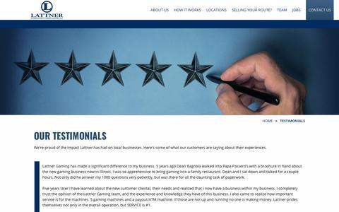 Screenshot of Testimonials Page thebestvgts.com - Customer Testimonials | Lattner Entertainment Group - captured Sept. 27, 2018