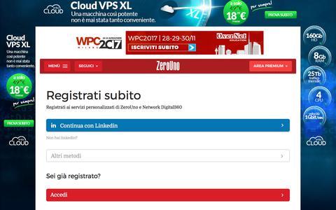 Screenshot of Signup Page zerounoweb.it - Signup | ZeroUno - captured Oct. 19, 2017