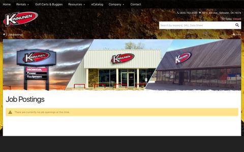 Screenshot of Jobs Page ksrsales.com - Job Postings - Kinnunen - captured Nov. 27, 2016