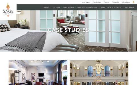 Screenshot of Case Studies Page sagehospitality.com - Sage Hospitality Case Studies - Evidence of our SuccessSage Hospitality - captured July 21, 2016