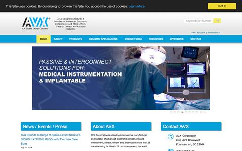 Screenshot of Home Page avx.com - AVX - Advanced Passive Components & Interconnects - captured July 28, 2018