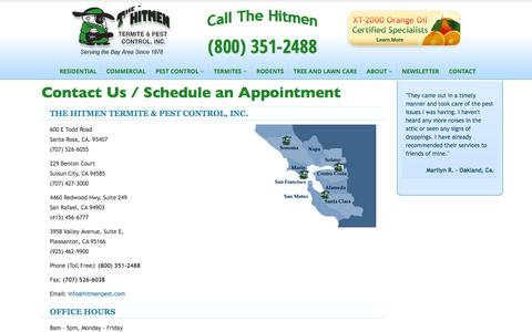 Screenshot of Contact Page hitmenpest.com - Contact, Schedule an Appointment | The Hitmen Termite & Pest Control - captured Nov. 2, 2014