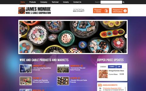 Screenshot of Home Page jamesmonroewire.com - The James Monroe Wire and Cable Corporation - captured Jan. 25, 2015