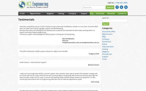 Screenshot of Testimonials Page bcsengineering.com - Testimonials - BCS Engineering - captured July 31, 2018
