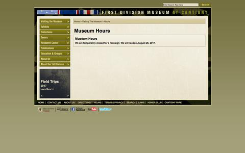 Screenshot of Hours Page firstdivisionmuseum.org - First Division Museum at Cantigny - captured Nov. 25, 2016