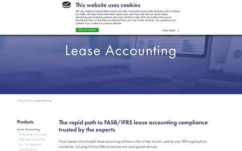 Screenshot of Products Page visuallease.com - Lease Accounting - captured Sept. 20, 2018