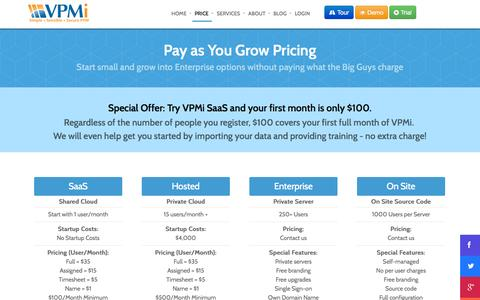 Screenshot of Pricing Page vcsonline.com - Pricing - SaaS Resource & Project Management Software | VPMi - captured Oct. 26, 2014