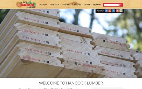 Screenshot of Home Page hancocklumber.com - Lumber Supply Company in New Hampshire & Maine | Hancock Lumber : - captured Sept. 27, 2014